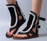 Warrior Chic Handmade Genuine Leather Hollow Out Crochet Gladiator Flats