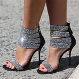 Be Dazzled Ankle Wrap Crystal Strappy High Heel Sandals