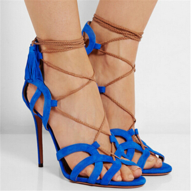 026ff6484463 Suede and Ropes Tassels High Heels Sandals – THULI NYC