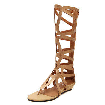 Cut Outs Knee High Flat Gladiator Sandals