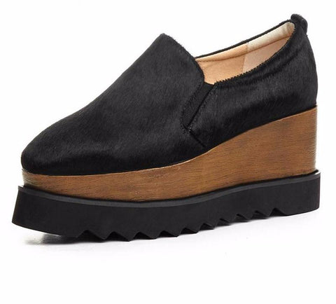 Genuine Leather Double Wedge Mohair Loafers