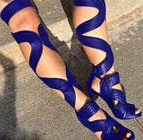 Cut-Outs Lace Up Thigh Highs Gladiator Heels