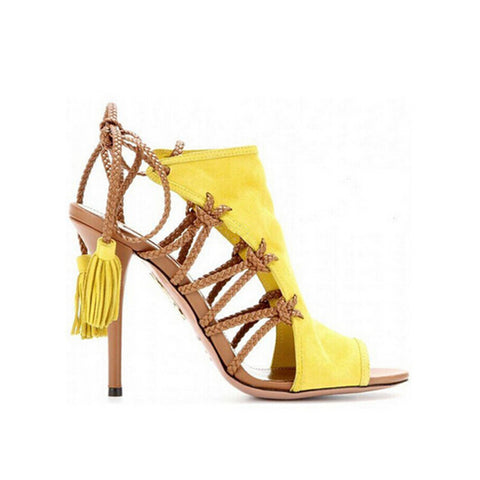 Handmade Suede Back Strap Weaved Rope Strappy Lace Up High Heel Sandals
