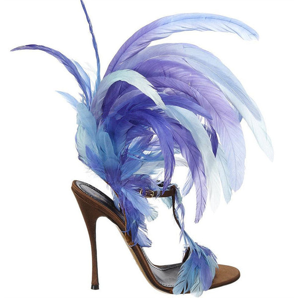 The Showstopper - Feathers and Leather High fashion Sandals