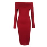 Sexy Off Shoulder Sheath Bodycon Knee Length Dress