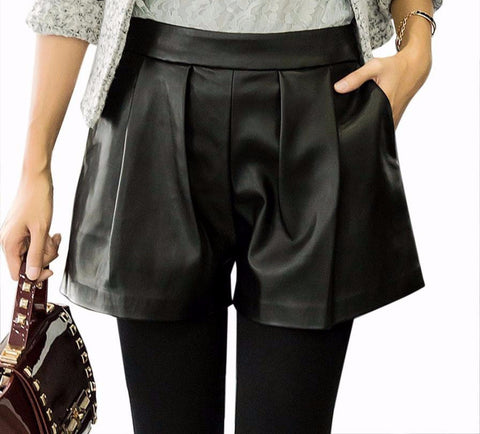 PU Leather Formal Shorts