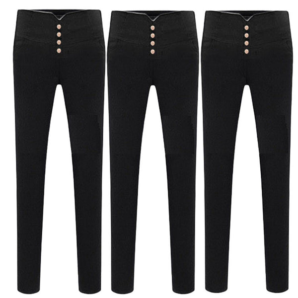 High Waist Stretch Woven Casual Pencil Pants