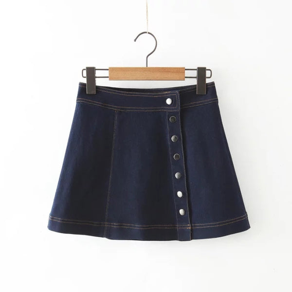 Breasted Denim A-Line Skirt