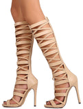 NUDE OPEN TOE MULTI CRISSCROSS STRAP KNEE HIGH GLADIATOR BOOTS