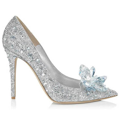 Cinderella Rhinestone Crystals High Heel Pumps
