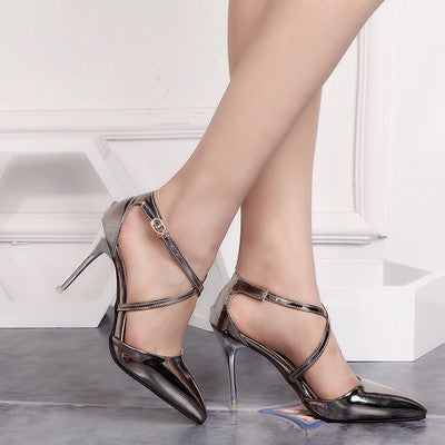 NYC Chic Metallic Patent Leather Pumps