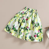 Give me lemons High Waist Pleated A-Line Skirt