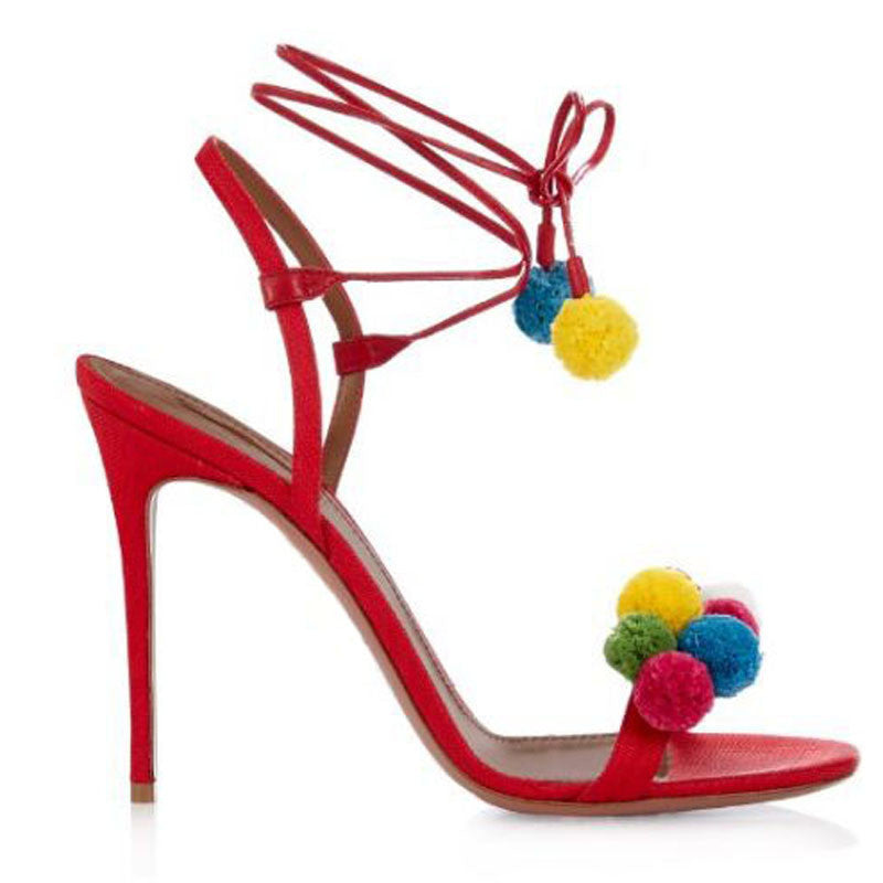 8b90c23cab1b Genuine Leather Pom Pom Lace Up High Heels Sandals – THULI NYC