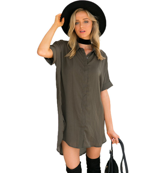 Slouchy Loose Fit Rolled Up Sleeve Boyfriend Shirt Dress