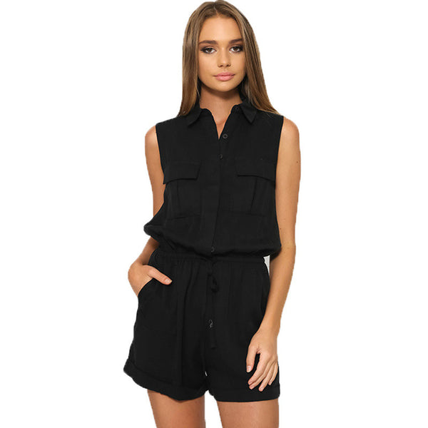 Tab Pocket Button Down Soft Silk Satin Military Casual Playsuit