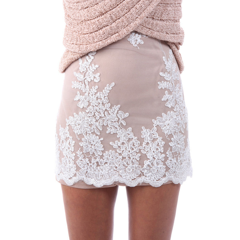 d8735dc663c Floral Embroidery Mesh Scalloped Lace Mini Skirt – THULI NYC