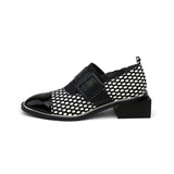Bossy Genuine Leather Dotted Square Moccasins