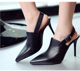 Genuine Leather Slingback Stiletto High Heel Pumps
