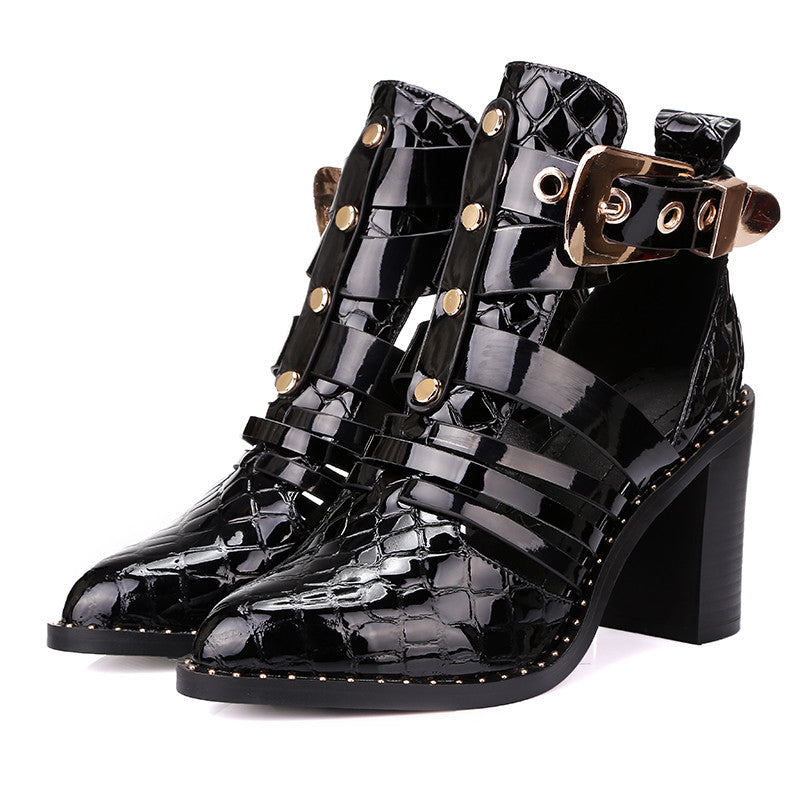 Genuine Leather Belt Buckle Ankle Boots