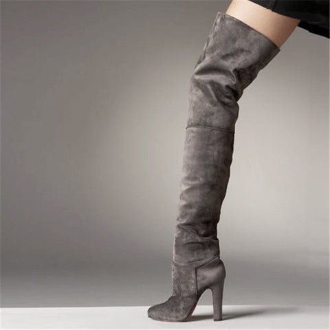 grey Grey Suede High Fashion Thigh High Boots