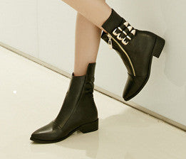PU Leather Vintage British Ankle Zip Motorcycle Boots
