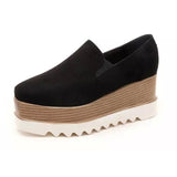 Suede Platform Slip On Loafers