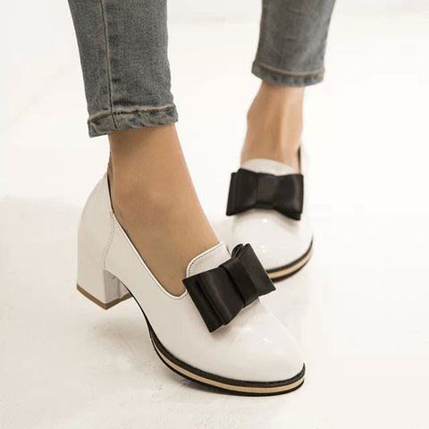 Patent Leather Casual Thick Heel Slip-Ons