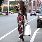 Long Sleeve Slit Lace Printed Ankle Length Dress