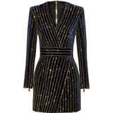 The Runway Collection Long Sleeve V-neck Gold Beaded Mini Velvet Dress