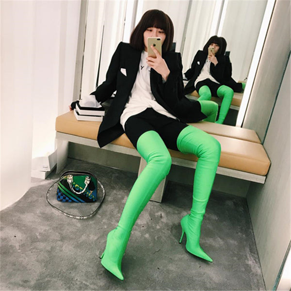 Satin Green Thigh High Boots