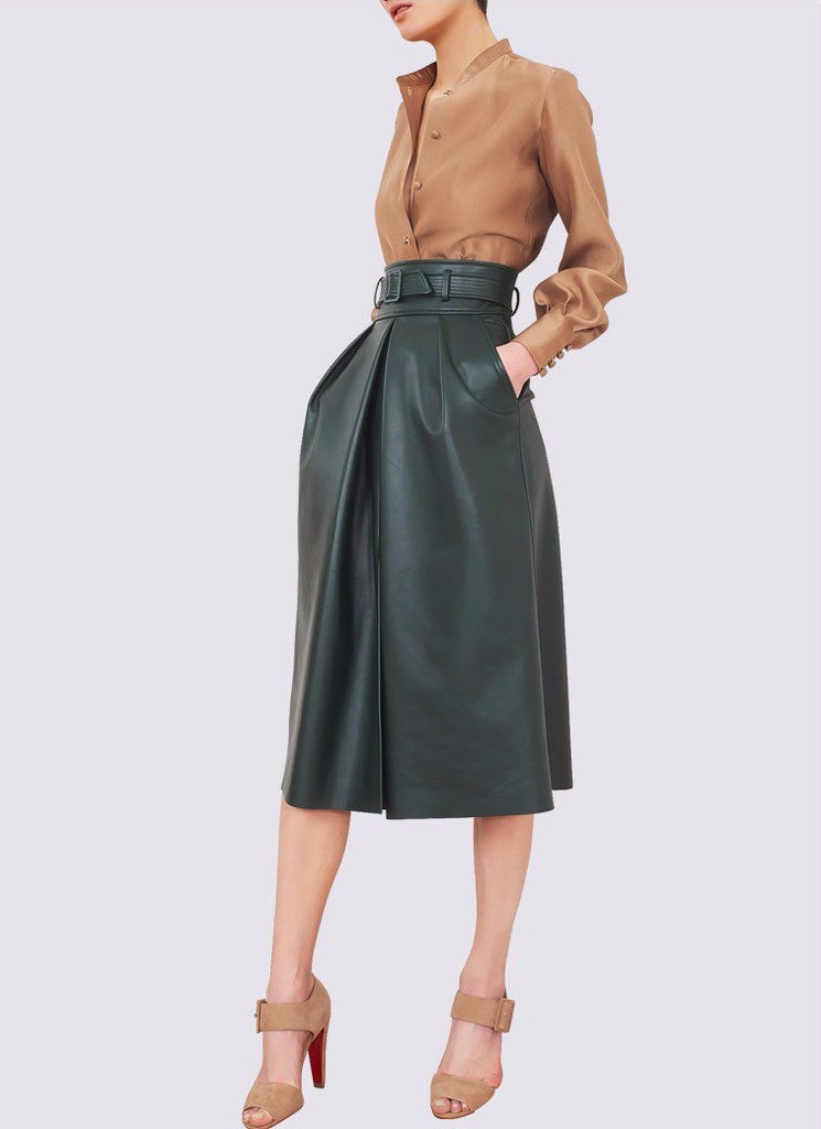 294259d728d Leather Skirt and Silk Shirt Set – THULI NYC