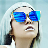 Oversizes Mirrored Multicolored Cat Eye Sunglasses