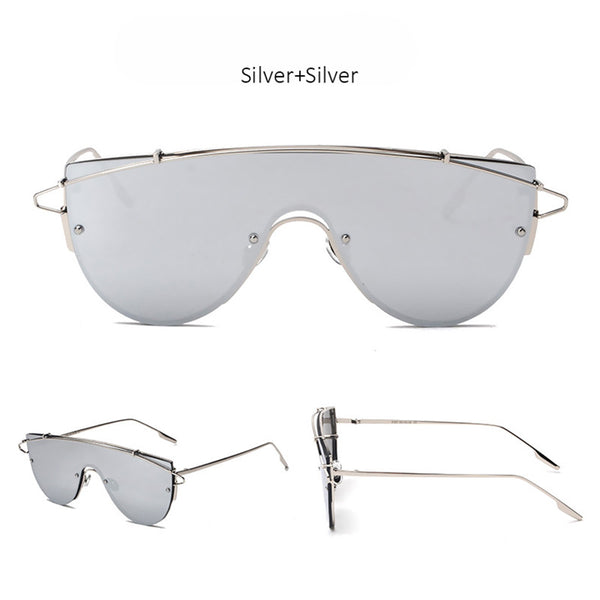 Oversized Sunglasses Flat Top Steampunk Mirrored Sunglasses