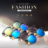 Retro Bamboo Mirrored Sunglasses