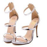 Metallic Strappy High Heel Sandals