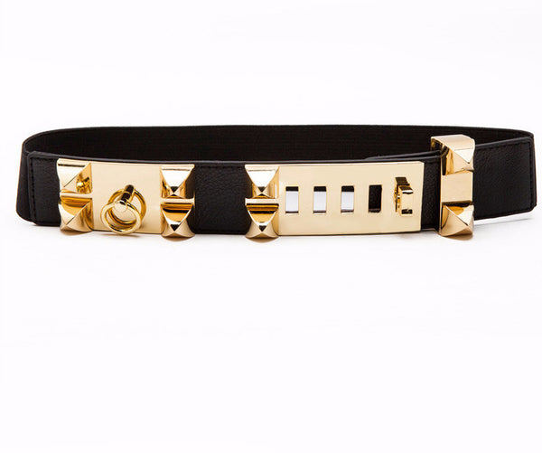 The Rivet Metal Elastic Waist Belt with Lock