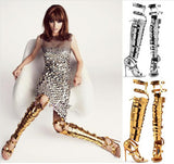 High Fashion Cut outs  Over The Knee Gladiator Heels