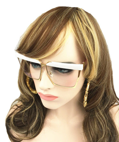 Houston Vintage Clear Lens  Wrap Sunglasses