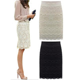High Waist Lace Knee Length Pencil Skirt