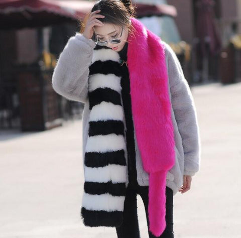 Colorblock faux fur pashmina long fur scarf with tail