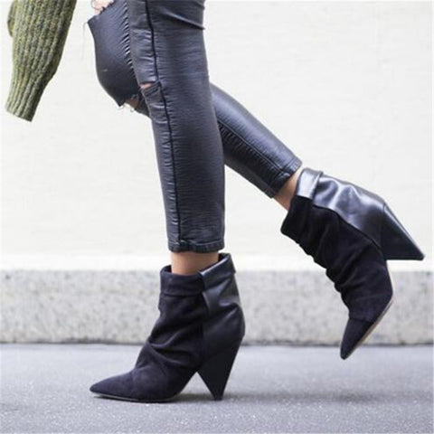 Patchwork Genuine Leather and Suede Thick Spike Heel Ankle Boots