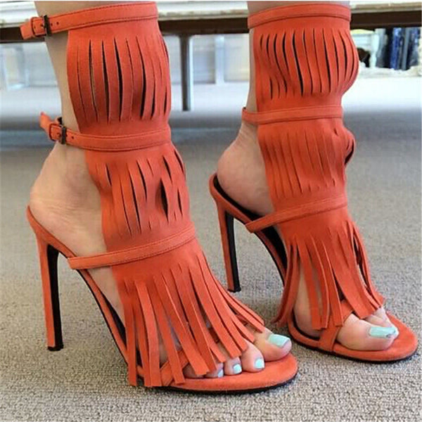 d9c6ffd3e5a2 Handmade Fringe Double Ankle Strapped Gladiator Heels – THULI NYC