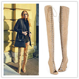 Full Grain Leather Open Toe Gladiator Thigh High Heels