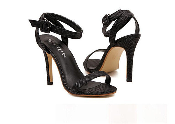 Genuine Leather Strappy High Heel Sandals