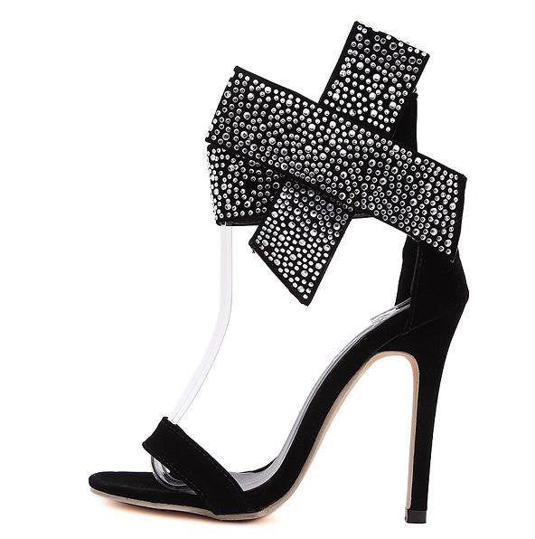 Bowtie Rhinestone High Heel Sandals