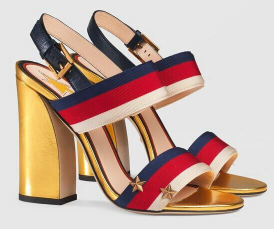 Multicolored Stripe Grosgrain Chunky Heel Sandals