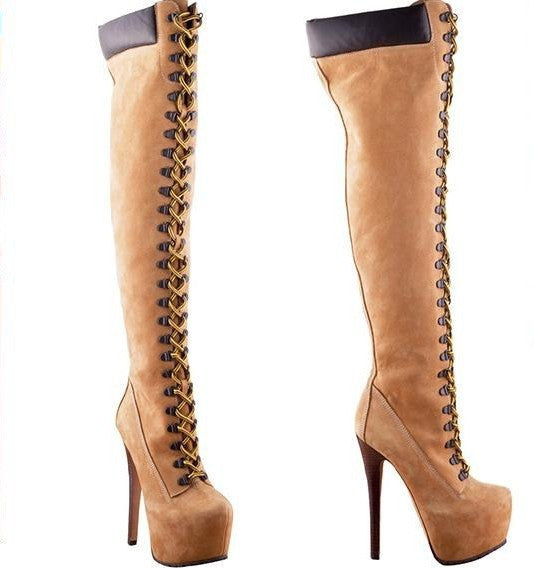 Platform Lace Up Thigh High Boots