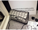 Genuine Leather Quilted Lattice Clutch Bag