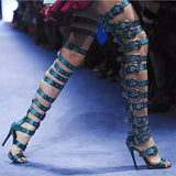 Celebrity Inspired Open Toe Thigh High Gladiator High Heel Sandals