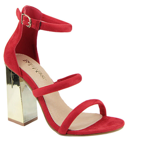 Suede Triple Strap Mirror Block Chunk Heel Sandals
